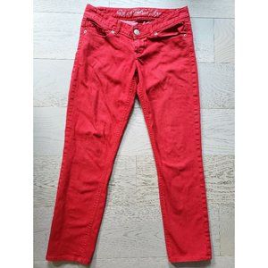 EXPRESS Low Rise Ankle Crop Jeans Legging Red 0